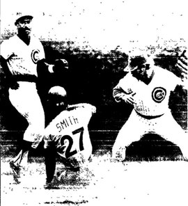 Lonnie Smith slides into second safely with his 23rd steal.