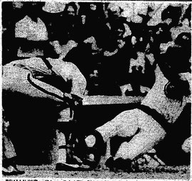 Bob Boone tags out Tim Blackwell in the eighth inning.