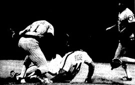 Pete Rose is thrown out trying to steal second base in the first inning.