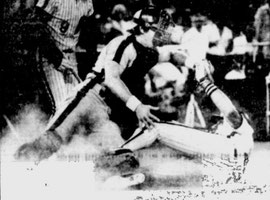 Mike Schmidt is tagged out trying to steal home.