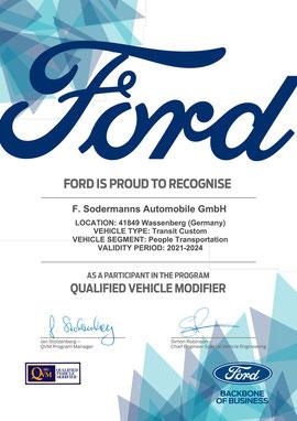 Ford Aufbauhersteller Zertifikat Sodermanns