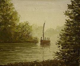Flussfahrt (Öl auf Leinwand, 18 x 22 cm)