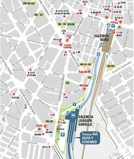 Plan Bahnhof Joaquin Sorolla und Bahnhof Estation de Norte, Valencia