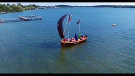 Luftbild von Waren Müritz am Strand Volksbad