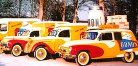 """Peugeot 202 """"GONON"""" Produits laitiers  Caravane 1953 Circuit des 6 Provinces ou/et Dauphiné Libéré"""