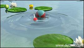 Мяч плюхнулся прямо на поплавок