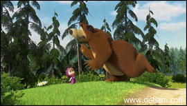 Маша поймала,но не бабочку, а Медведя за нос