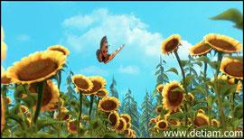 Ловив бабочку,Маша побежала через поле подсолнухов