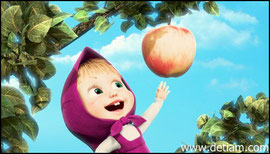 Маша залезла на яблоню и потянулась за яблоком...