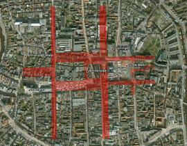 Groningen, mit maßstabsgetreuen Lagerwegen aus dem Römerlager Oberaden