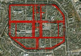 maßstabsgetreues Römerlager von Oberaden mit vertauschten Eckenverkürzungen in der Retentura