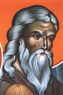 """Abraham - Détail de la fresque de """"l'hospitalité d'Abraham"""" de la Trapeza de SMV."""