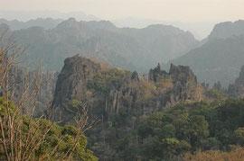 Dry forest on limestone mountain in Khammouan Province Laos