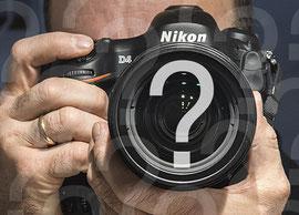 Die Sinnfrage des Fotografen. Selfie mit NIKON D4 und Fragezeichen. Foto by Klaus Schoerner