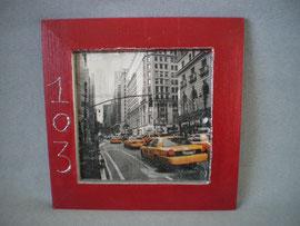 """cadre bois"""" Manhattan"""" bordeaux et gris argent"""
