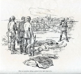 ヤン・コムスキーの描いたアウシュヴィッツの絵