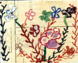お母さんたちからの毛糸で描いた花