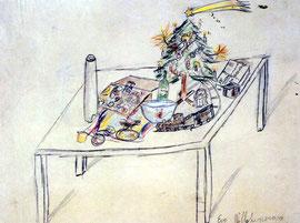 テレジンの子どもたちの描いたクリスマスの絵(絵をクリックすると拡大でご覧いただけます)
