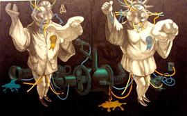 Hai thiên thần, tranh sơn mài (2008)