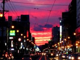 紫色の函館の街