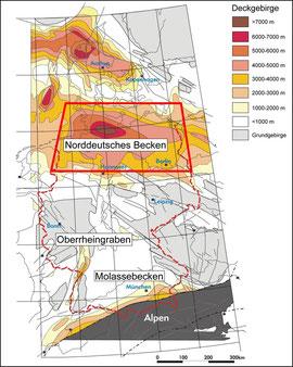 Sedimentäre Mächtigkeiten des Deckgebirges im Norddeutschen Becken, dem Oberrheingraben und dem Molassebecken im Vergleich verdeutlichen das generell hohe geothermische Potenzial des Norddeutschen Beckens.