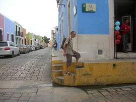 les trottoirs très hauts de Campeche