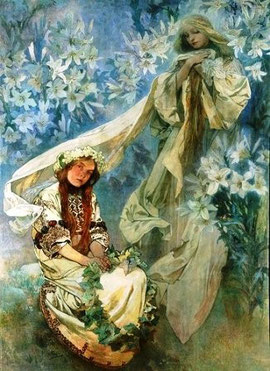 ALPHONSE MUCHA - Madonna of the Lillies (1905)