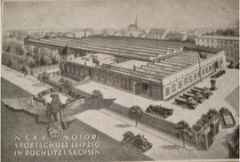 N.S.K.K.-Motorsportschule in den Gebäuden der ehemaligen Weberei und späterer Mechanik GmbH. Quelle: Privatarchiv