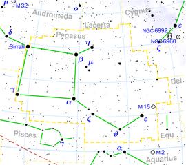 Das Herbstviereck (grün) unter Beteiligung der Sternbilder Andromeda (Ausschnitt links oben) und Pegasus. Die Namen der Sterne des Herbstvierecks in blauer Schrift. (Wikipedia, Alfio)