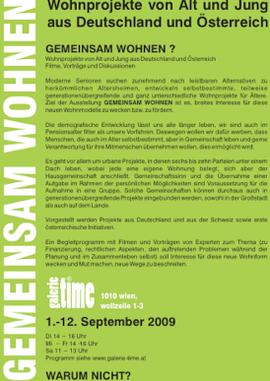 galerie time gemeinsam wohnen - Wohnprojekte von Alt und Jung aus Deutschland und Österreich. Ausstellung, Vorträge, Filme, Diskussionen