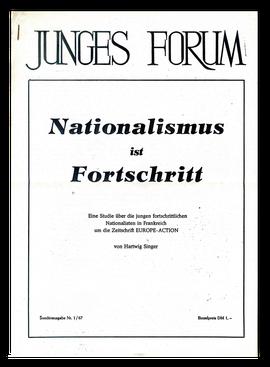 """Umschlag einer Ausgabe der Zeitschrfit """"Junges Forum"""" von 1967 mit einem Text, den Eichberg unter dem Pseudonym """"Hartwig Singer"""" verfaßte"""