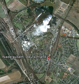 Luftbild: 150 km von Niedernhausen entfernt liegt Niederaußem mit Braunkohlekraftwerk