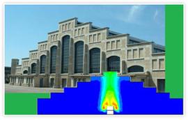 Halle Tony Garnier à Lyon : simulation numérique 3D du désenfumage par ventilation naturelle, avec FLUENT
