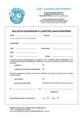 bulletin d'adhésion à Lunettes sans Frontière