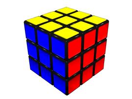 Cubo de Rubik diseñado en Blender. Imagen propia.