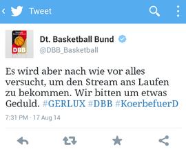 Twitter-Beitrag des DBB zum ruckelnden Stream