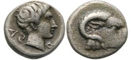 Karische Münze aus Halikarnassos 5. Jhdt. v. Chr. Hemiobol