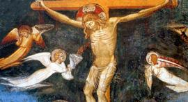 La crucifixion, de Matteo Giovanetti. Le sang qui coule de la blessure du Christ est récupéré dans le Graal