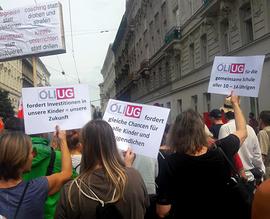 Großdemo zum 1. Jahrestag der Regierung * Breiter Protest gegen Sozialabbau * Demo: Sa. 15. Dezember 2018  Bild:ÖLI