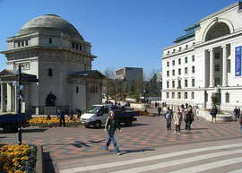 Centenary Square - the Hall of Memory (left), Baskerville House (right).