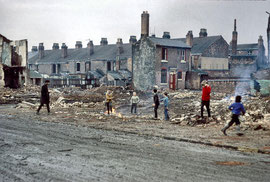 Demolition of terraced houses, Anderton Street, off Shakespeare Road, Ladywood photographed by Phyllis Nicklin 1968. See Acknowledgements, Keith Berry.
