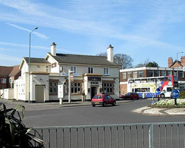 Flints public house, formerly the Barley Mow and now Barleys, at the junction of Mere Green Road and Belwell Lane (where the bus is)
