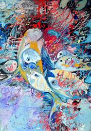 Wenn  das Wasser versiegt, beginnen die Fische zu fliegen_Acryl+Öl auf Leinen_120x80 cm_2013