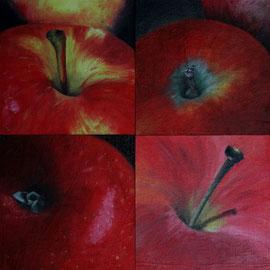 Petit_PommeRouge-1-2-3-4    /  huile sur toile marouflée /    (14 x 14) x 4