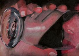 Christelle boit un verre d'eau    /  huile sur toile  /    26 x 37