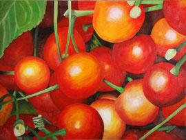 Cerises-2    /  huile sur toile  /    44 x 58,5
