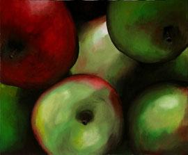 Pommes_933    /  huile sur toile  /    46 x 38