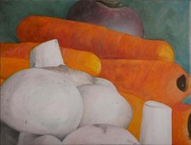 Champignons_Carottes_Navet    /  huile sur toile  /    61 x 46