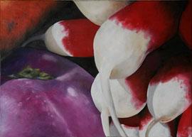 Radis_Navet_carottes    /  huile sur toile  /    74 x 50
