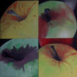 Petit_PommeVerte-1-2-3-4    /  huile sur toile marouflée /    (14 x 14) x 4